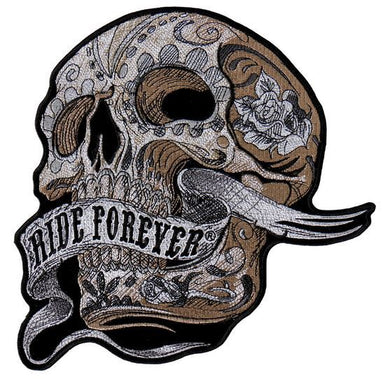 Skull With Ride Forever Banner Vest Patch - SKU USA-PPA8283-HI - USA Biker Leather