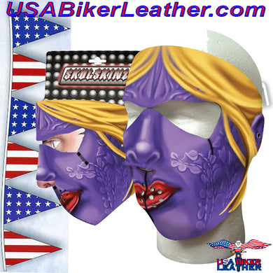 Full Face Purple Woman Neoprene Mask / SKU USA-PURPLEWOMAN-HI - USA Biker Leather