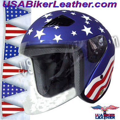 America DOT Motorcycle Helmet with Flip Shield / SKU USA-RK5A-HI - USA Biker Leather - 1