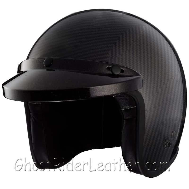 Real Carbon Fiber DOT Open Face 3/4 Motorcycle Helmet - SKU USA-RM-68-HI