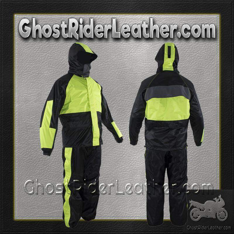 Motorcycle Biker Two Piece Fluorescent Rain Suit With Hoodie / SKU GRL-RS26-HOODIE-DL - USA Biker Leather