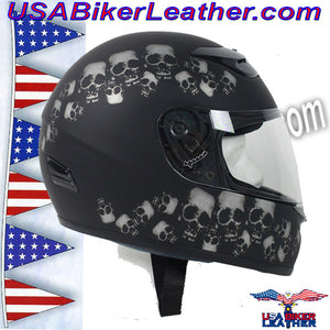 DOT Full Face Skull Pile Motorcycle Helmet / SKU USA-RZ80SP-HI - USA Biker Leather - 1