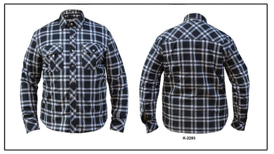 UNIK Men's Black / White Flannel Shirt - USA Biker Leather