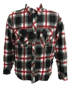 UNIK Men's Black / Red Flannel Shirt - USA Biker Leather