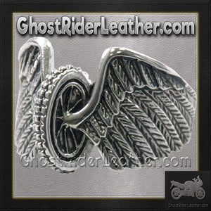 Mens Stainless Steel Winged Wheel Ring / SKU GRL-VJ1041-VL