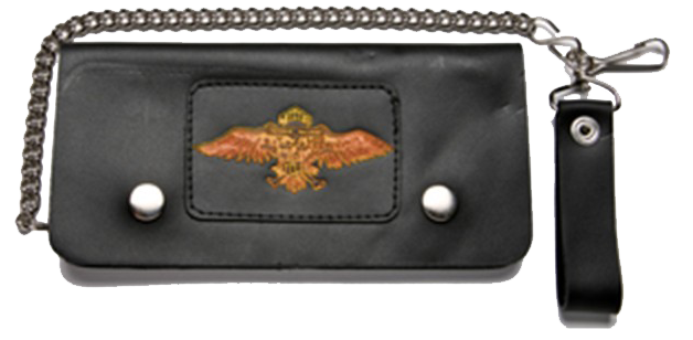 Black Leather Chain Wallet with Wings Design - Bifold - SKU GRL-WALLET11-DL