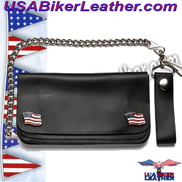 Chain Wallet with USA Flag Emblems / SKU USA-WALLET5-DL - USA Biker Leather