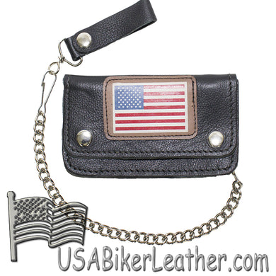 Heavy Duty Leather Chain Wallet with USA Flag - SKU USA-WALLET9-11-HD-DL - USA Biker Leather