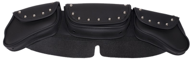 Motorcycle Windshield Bag Set with Studs and 3 Compartments - SKU USA-WS23-DL