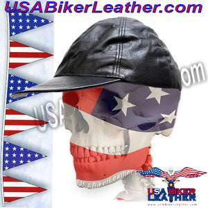 Leather Baseball Cap with Adjustable Back / SKU USA-AC006-DL - USA Biker Leather - 3