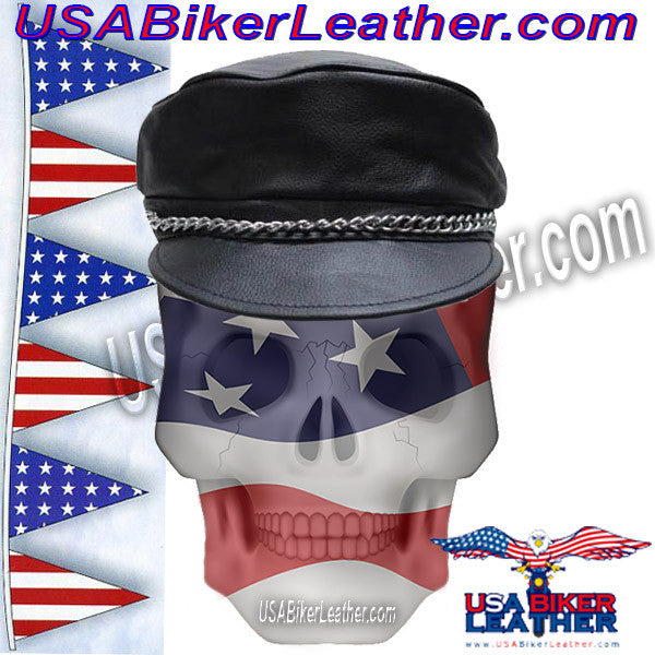 92c4795369e43 Leather Cap with Chain   SKU USA-AC008-DL - USA Biker Leather -