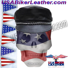 Leather Cap with Chain / SKU USA-AC008-DL - USA Biker Leather - 1