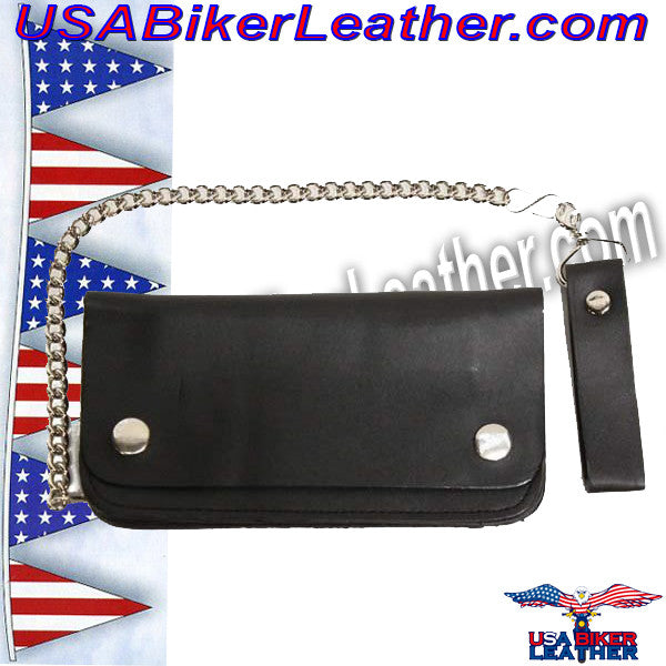 6 inch Black Leather Chain Wallet / Bifold / SKU USA-AC50-DL - USA Biker Leather