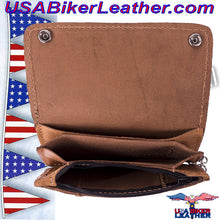 Heavy Duty Tan Leather Chain Wallet / SKU USA-AC51-11-DL - USA Biker Leather - 3