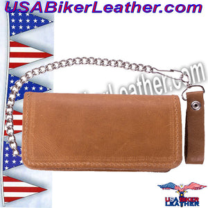 Heavy Duty Tan Leather Chain Wallet / SKU USA-AC51-11-DL - USA Biker Leather - 2