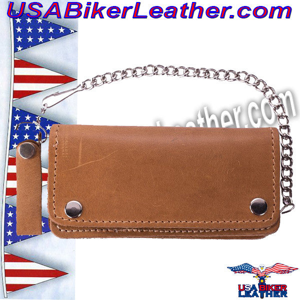 Heavy Duty Tan Leather Chain Wallet / SKU USA-AC51-11-DL - USA Biker Leather - 1