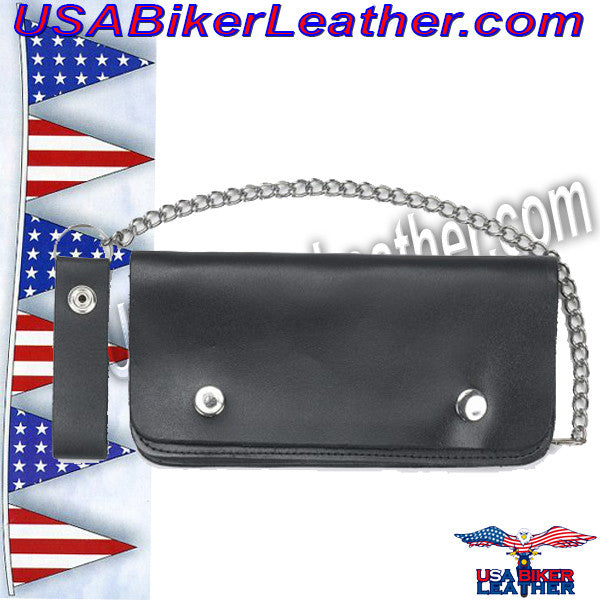 7.75 inch Bifold Leather Chain Wallet / SKU USA-AC51-DL - USA Biker Leather