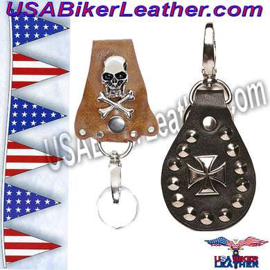 Set of Two Leather Key Chain Fobs / SKU USA-AC82-AC88-DL - USA Biker Leather