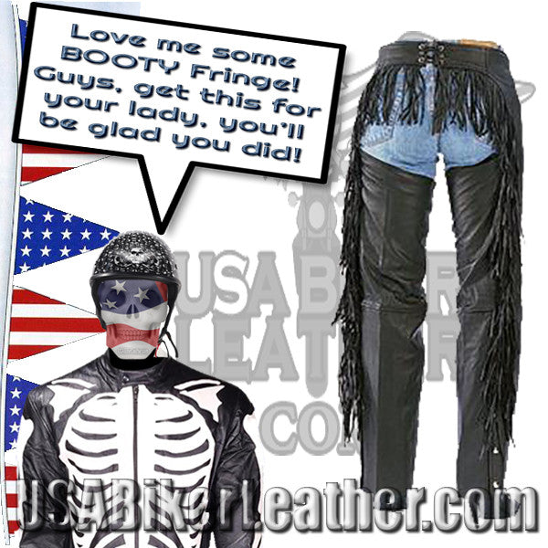 Ladies Booty Fringe Leather Chaps / SKU USA-AL2407-AL - USA Biker Leather