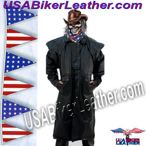 Mens Leather Duster, Tough Rugged Style / SKU USA-AL26-AL - USA Biker Leather