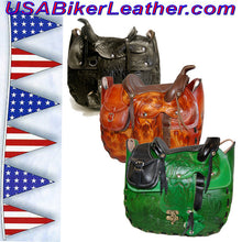 Leather Saddle Purse, Made In USA / SKU USA-BL44-BL - USA Biker Leather - 2