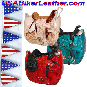 Leather Saddle Purse, Made In USA / SKU USA-BL44-BL - USA Biker Leather