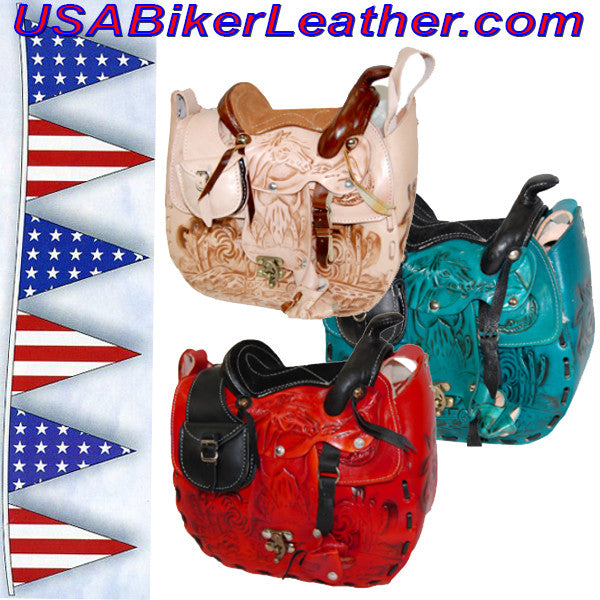 Leather Saddle Purse, Made In USA / SKU USA-BL44-BL - USA Biker Leather - 1