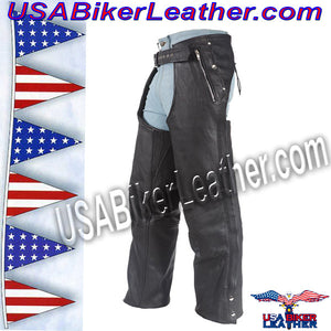 Mens or Ladies Unisex Leather Chaps with Removable Liner / SKU USA-C334-DL - USA Biker Leather - 3