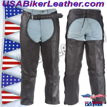 Mens or Ladies Unisex Leather Chaps with Removable Liner / SKU USA-C334-DL - USA Biker Leather - 1