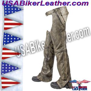 Mens Leather Chaps in Naked Distressed Brown Leather / SKU USA-C334-12-DL - USA Biker Leather - 1