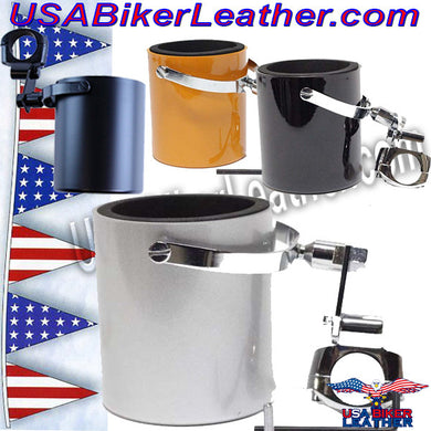 Motorcycle Cup Holders / Choice of Colors / SKU USA-CUP4-DL - USA Biker Leather - 1