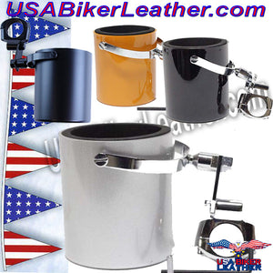 Motorcycle Cup Holders / Choice of Colors / SKU USA-CUP4-DL - USA Biker Leather