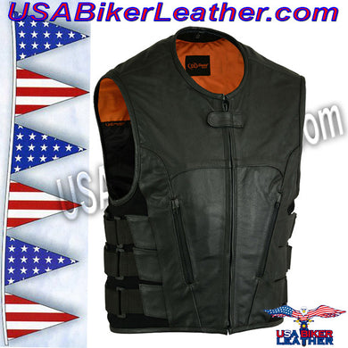 Mens Updated SWAT Team Style Vest / SKU USA-DS007-DS - USA Biker Leather - 1
