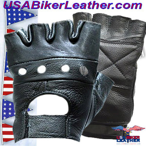 Fingerless Leather Gloves - SKU USA-GL2008-DL - USA Biker Leather