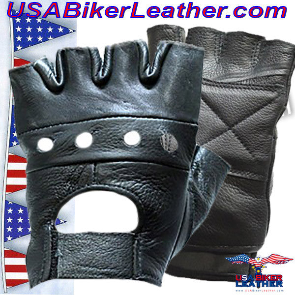 Fingerless Leather Gloves / SKU USA-GL2008-DL - USA Biker Leather
