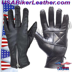 Ladies Full Finger Zipper Leather Gloves / SKU USA-GL2081-DL - USA Biker Leather