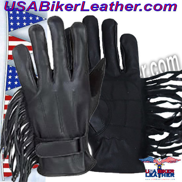 Womens Leather Gloves with Fringe / SKU USA-GL2082-DL - USA Biker Leather