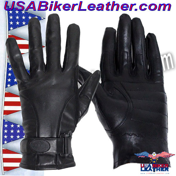 Full Finger Leather Riding Gloves with Air Vents / SKU USA-GL2095-DL - USA Biker Leather