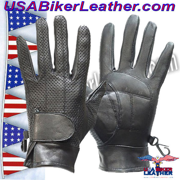 Womens Full Finger Perforated Leather Gloves / SKU USA-GL315-DL - USA Biker Leather