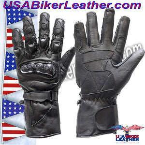 Mens Hard Knuckle Leather Gauntlet Gloves / SKU USA-GLZ10-DL - USA Biker Leather