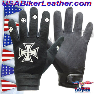 Mechanics Gloves with Iron Cross Design / SKU USA-GLZ46-DL - USA Biker Leather