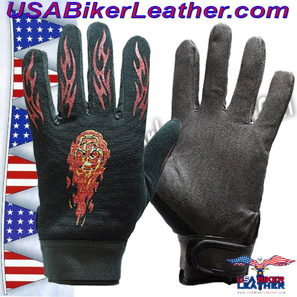 Mechanics Gloves with Flames / SKU USA-GLZ49-DL - USA Biker Leather
