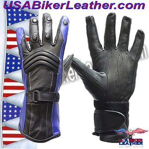 Ladies Leather Gauntlet Gloves in Red White or Blue / SKU USA-GLZ60-DL - USA Biker Leather - 4