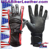 Ladies Leather Gauntlet Gloves in Red White or Blue / SKU USA-GLZ60-DL - USA Biker Leather - 2