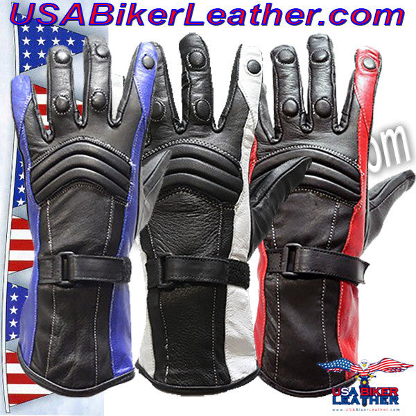 Ladies Leather Gauntlet Gloves in Red White or Blue / SKU USA-GLZ60-DL - USA Biker Leather - 1