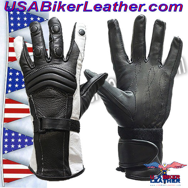 Ladies Leather Gauntlet Gloves in Red White or Blue / SKU USA-GLZ60-DL - USA Biker Leather - 3