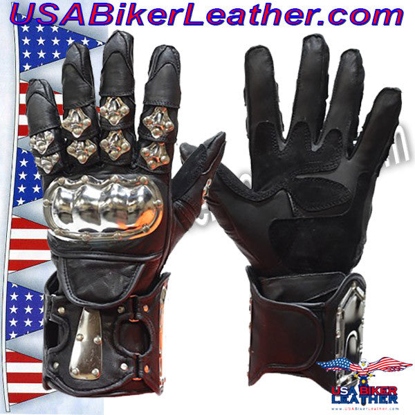 Mens Leather and Metal Gauntlet Racing Gloves / SKU USA-GLZ8-DL - USA Biker Leather