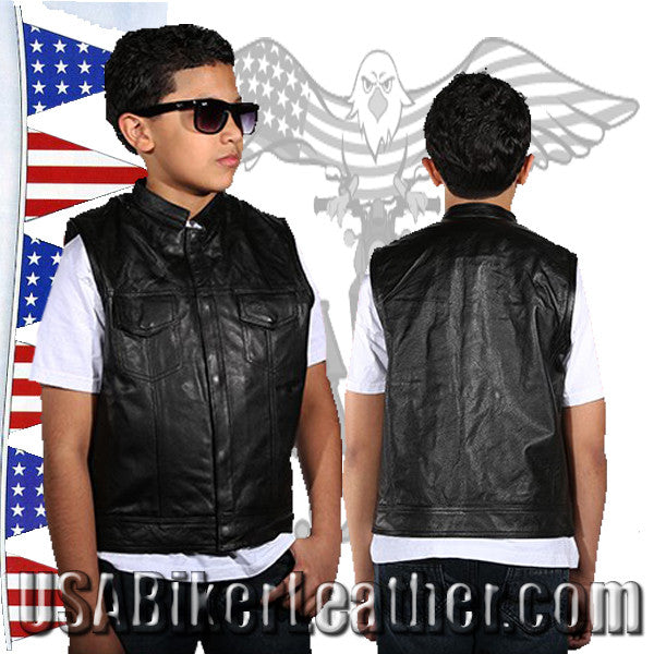 Kids Motorcycle Leather Club Vest / SKU USA-KD320-DL - USA Biker Leather - 1