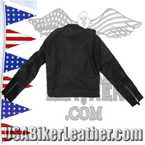 Teens Leather Motorcycle Biker Jacket / SKU USA-KD342-TEEN-DL - USA Biker Leather - 2