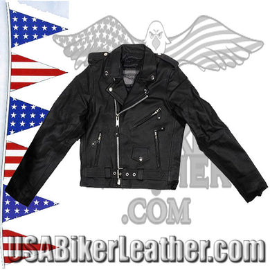 Teens Leather Motorcycle Biker Jacket / SKU USA-KD342-TEEN-DL - USA Biker Leather - 1